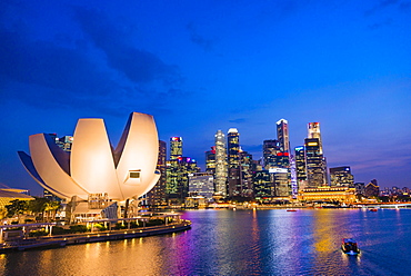 ArtScience Museum and skyline at dusk, night scene, city centre, financial district, Marina Bay, Downtown Core, Singapore, Asia