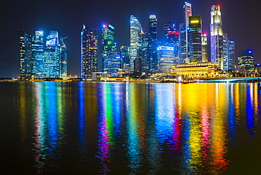 Skyline, Night Scene, Downtown, Financial District, Central Business District, Marina Bay, Downtown Core, Singapore, Asia