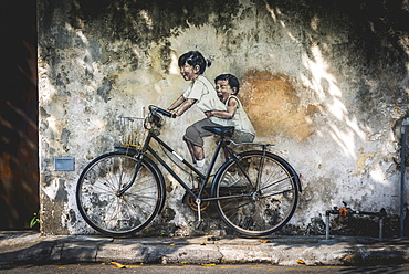 Little Children on a Bicycle, mural, Streetart, by Lithuanian artist Ernest Zacharevic, George Town Festival 2012, Armenian Street, George Town, Penang, Malaysia, Asia