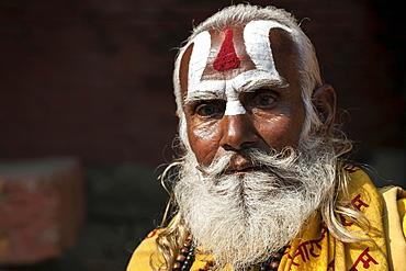 Sadhu, painted face, beard, portrait, Kathmandu, Nepal, Asia