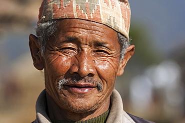 Nepalese man, portrait, near Panauti, Nepal, Asia