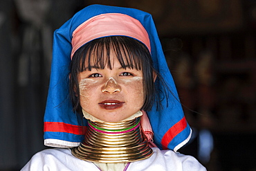 Girl of the Padaung ethnic group wearing traditional clothing, portrait, at Indein, Shan State, Myanmar, Asia