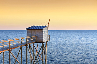Traditional fishing hut on stilts, in the evening, Jade Coast, Cote de Jade, Loire-Atlantique, France, Europe