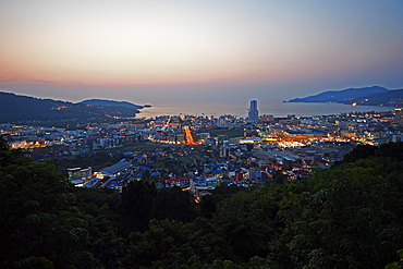 Evening view over Patong Beach, Phuket, Thailand, Asia