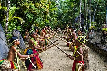 Stick dance performed by the tribal people of Yap Island, Caroline Islands, Micronesia, Oceania