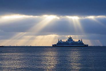 Ferry from Dagebüll to Wyk auf Föhr, cloud atmosphere, North Frisia, Schleswig-Holstein, Germany, Europe