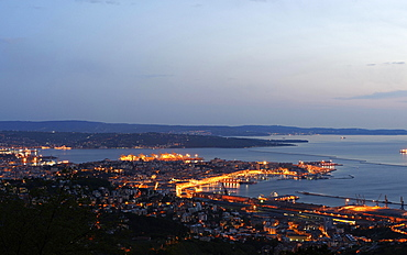 Coastline, historic centre with the old port, Trieste, Italy, Europe