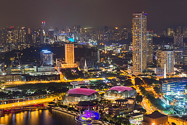 Downtown central financial district at night, Singapore, Asia