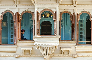 Windows in the City Palace of the Maharaja, Udaipur, Rajasthan, India, Asia