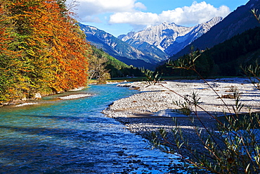 Isar river at Vorderriss, Lenggries, Bavaria, Germany, Europe