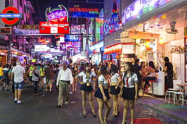 Walking Street, pedestrian zone, nightlife, bars, nightclubs, neon signs, Pattaya, Chon Buri Province, Thailand, Asia