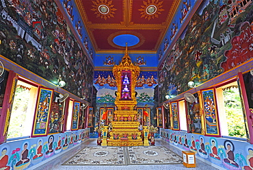 Splendidly designed interior of the temple Wat Khao Rang, Phuket, Thailand, Asia