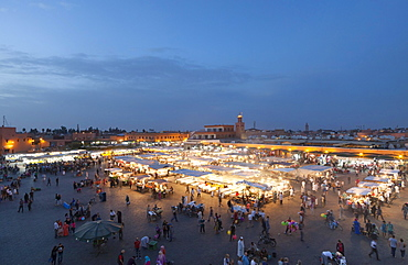 Djemaa el Fnaa square at dusk, Marrakech, Morocco, Africa