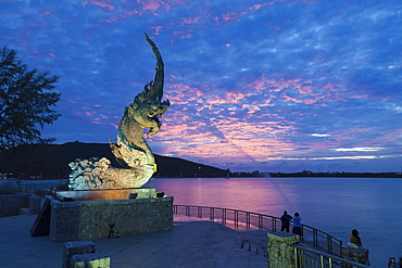Dragon fountain at dusk on the promenade in Songkhla, Thailand, Asia