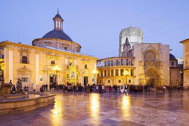 Plaza de la Virgen with the Cathedral and Basilica de Virgen de Los Desamparados, Valencia, Spain, Europe