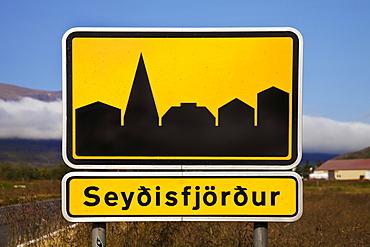 Town sign of Seydisfjördur, East Iceland, Iceland, Europe