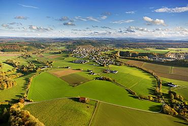 Aerial view, meadows at Kallenhardt, Ruthen, Sauerland area, North Rhine-Westphalia, Germany, Europe