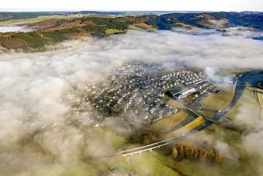 Low clouds over Olsberg, aerial view, Sauerland region, North Rhine-Westphalia, Germany, Europe