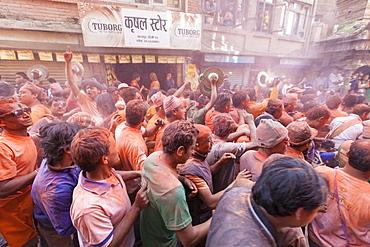 Scene from the Balkumari Jatra festival celebrating the Nepalese New Year, Thimi, Bhaktapur, Nepal, Asia
