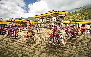 Dancer at Mask Dance, Religious Tsechu Monastery Festival, Gasa Tshechu Festival, Gasa District, Himalaya Region, Kingdom of Bhutan