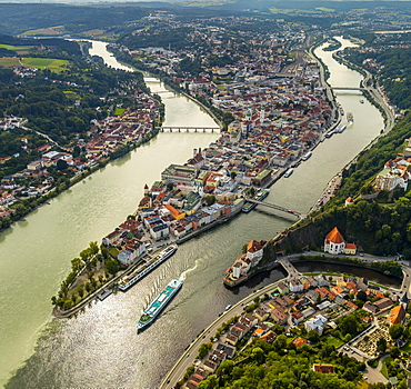 Historic centre of Passau, Veste Upper House, confluence of the three rivers Danube, Inn and Ilz, Passau, Lower Bavaria, Bavaria, Germany, Europe