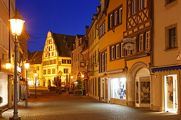 Market street with town hall, historic centre, Kitzingen, Mainfranken, Lower Franconia, Franconia, Bavaria, Germany, Europe