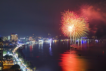 Fireworks at night, in the Bay of Pattaya, Beach Road, Pattaya, Chon Buri Province, Thailand, Asia