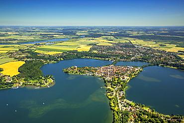 Ratzeburger See lake, Domsee lake, Küchensee lake, Bay of Lübeck, Ratzeburg, Schleswig-Holstein, Germany, Europe
