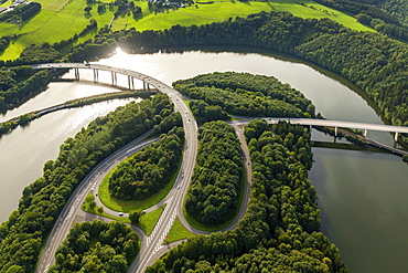Roads B54 and B55, basin Biggetalsperre in the urban area Olpe, Bigge, Ruhr District, Sauerland, North Rhine-Westphalia, Germany, Europe
