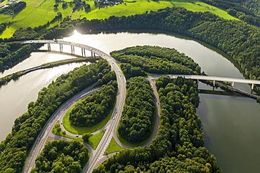 Roads B54 and B55, basin Biggetalsperre in the urban area Olpe, Bigge, Ruhr District, Sauerland, North Rhine-Westphalia, Germany, Europe