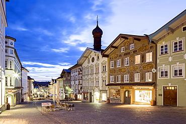 Residential and commercial buildings at dusk, market street, pedestrian area, Bad Tölz, Upper Bavaria, Bavaria, Germany, Europe