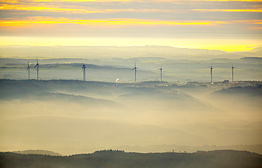 View over the mountains with wind turbines and fog, Hunsrück in Boppard, Rhine Valley, Rhineland-Palatinate, Germany, Europe