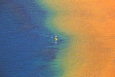 Person with standing paddle in the water, Playa de Las Teresitas, beach at San Andrés, Santa Cruz de Tenerife, Tenerife, Spain, Europe