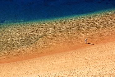 A single person on the beach, Playa de Las Teresitas, San Andres, Santa Cruz de Tenerife, Tenerife, Spain, Europe