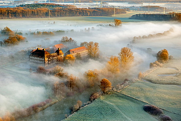 Aerial view, Schloss Oberwerries moated castle, morning fog above the Lippe river, Lippeauen, Hamm, Ruhr area, North Rhine-Westphalia, Germany, Europe