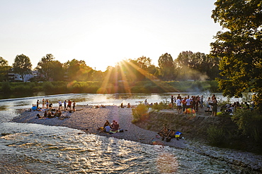 Sunset, Isar at Flaucher, Thalkirchen, Munich, Upper Bavaria, Bavaria, Germany, Europe