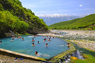 Thermal springs of Benjë, River Lengarica, Lengaricë, near Përmet, National Park Hotova-Dangell, behind the Nemërçka Mountains, Qar Gjirokastra, Gjirokastër, Albania, Europe
