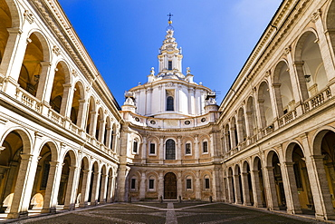 Courtyard of Studium Urbis, Cortile della Sapienza, Palazzo della Sapienza, and the baroque church of Sant'Ivo alla Sapienza by Francesco Borromini, Rome, Lazio, Italy, Europe