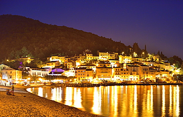 Historic centre and harbor at night on the Adriatic coast, Moscenicka Draga, Primorje-Gorski Kotar, Kvarner Gulf, Istria, Croatia, Europe