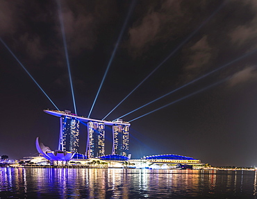 Laser show at the Marina Bay Sands Hotel, Singapore, Asia