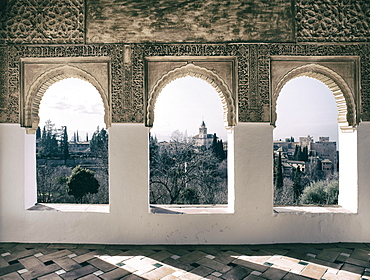 Overlooking the Alhambra, Granada, Andalucia, Spain, Europe