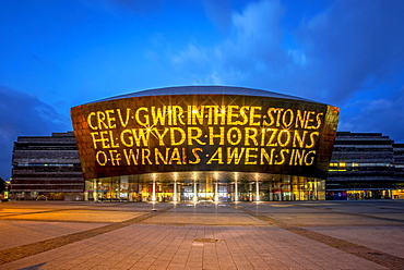 Welsh Millenium Center, architect Percy Thomas, event center, Blue Hour, Cardiff, South Glamorgan, Wales, United Kingdom, Europe