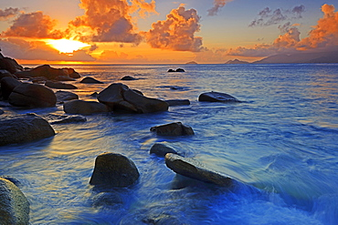 Colourful sunset at Anse Soleil, Mahe Island, Seychelles, Africa