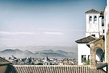 Palacio de Generalife, summer palace, overlooking the city of Granada, Andalucia, Spain, Europe