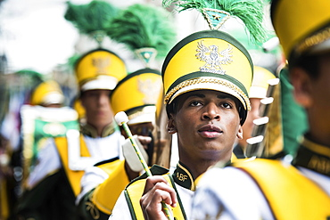 Member of a fanfare band during Brazil's civic parade, independence day September 7, Valenca, Rio de Janeiro State, Brazil, South America