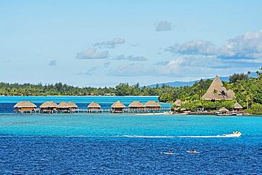 Overwater bungalows, lagoon, Bora Bora, French Polynesia, Oceania