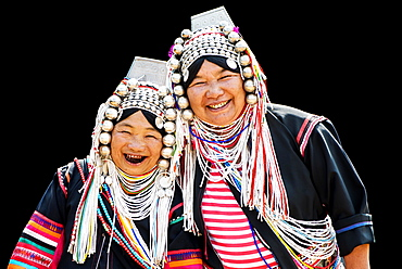Akha hill tribe women in traditional dress, northern Thailand