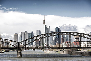 Skyline with the Deutschherrnbrücke bridge, Frankfurt am Main, Hesse, Germany, Europe