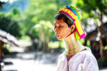 Portrait of a senior Kayan woman, Chiang Mai, Thailand, Asia