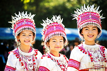 Traditionally dressed Hmong women at their New Year festival, Chiang Mai, Thailand, Asia